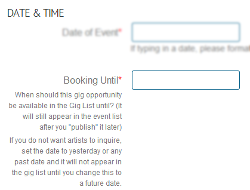 "MusicIDB ""Booking Until"" Date"